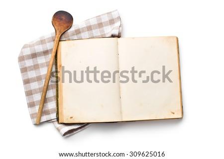 open recipe book on white background - stock photo