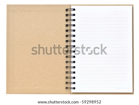 Open recycle notebook on white background - stock photo