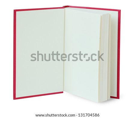 Open red book isolated on white with clipping path - stock photo
