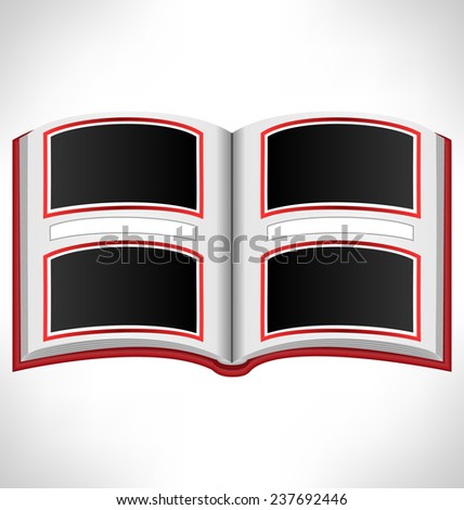 Open red book with photo frames and space for text on grayscale background - stock photo