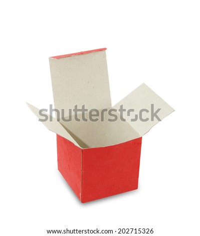 Open red box isolated white background.