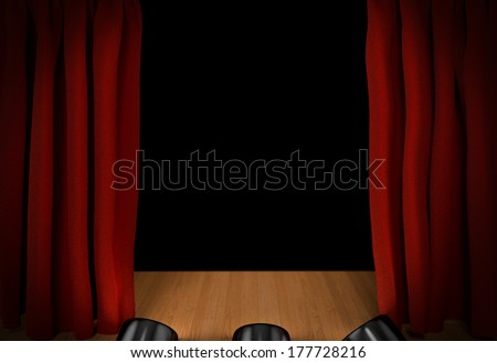 Open red curtains on the stage
