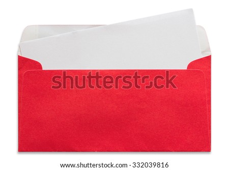 open red envelope with blank letter isolated on white background - stock photo