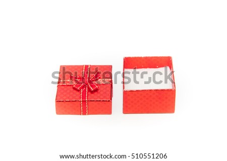 Open red gift box isolate on white background