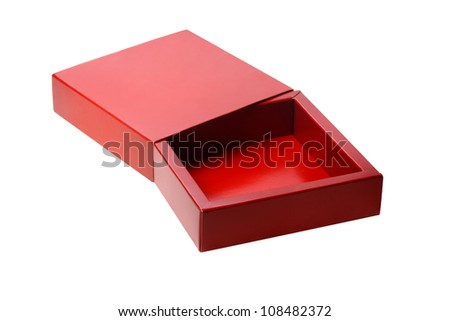 Open Red Gift Box on White Background - stock photo
