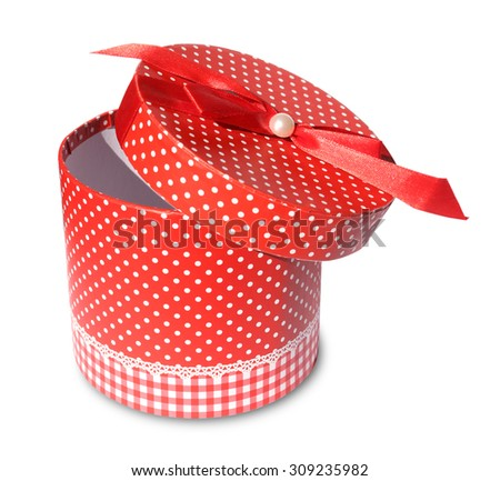 Open red gift box with bind red ribbon isolated on white background - stock photo