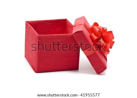 Open red gift box with bow - stock photo