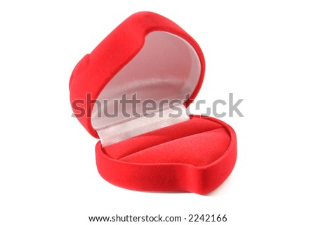 Open red heart-shaped jewelry gift box Valentine concept isolated with clipping path on white background