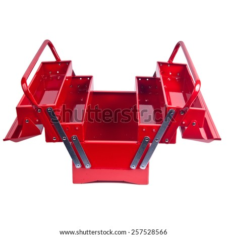 open toolbox clipart. open red metal toolbox isolated on white clipart i