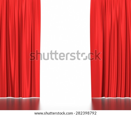 Open red silk curtains for theater and cinema with a white background. 3d illustration High resolution - stock photo