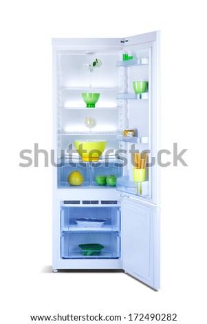 open refrigerator - stock photo