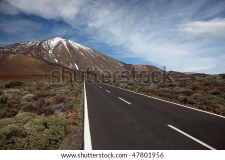 Open Road on Tenerife. The open road to leading to the Volcano Teide on Tenerife. - stock photo