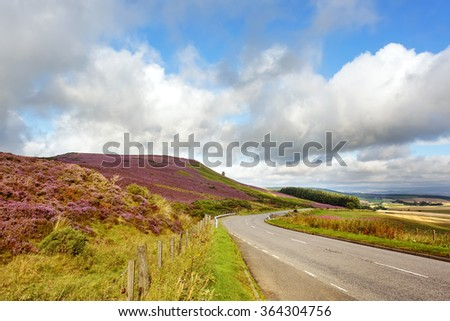 Open Road thru Scottish Countryside, Scotland. Uk - stock photo