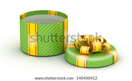 Open  round green gift  with gold ribbons on white background - stock photo