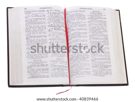 Open Russian Bible on isolated white