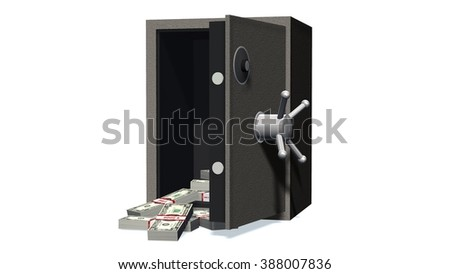 Open safe with Dollar bills isolated on white background  - stock photo