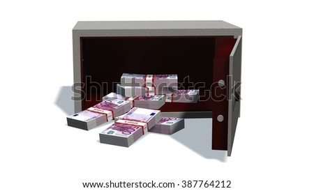 Open safe with 500 Euro bills isolated on white background