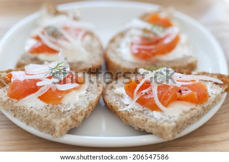 Open Sandwich With The Smoked Salmon