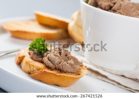 Open sandwiches with homemade chicken liver pate, closeup - stock photo