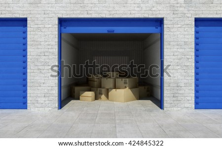 Open self storage unit full of cardboard boxes. 3d rendering - stock photo