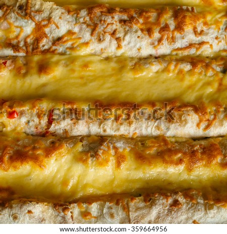 Open shawarma - roll with meat and cheese (also known as shaurma, doner, kebab, gyros, pita, burrito or tortilla) with a variety of ingredients and manufacturing options. - stock photo
