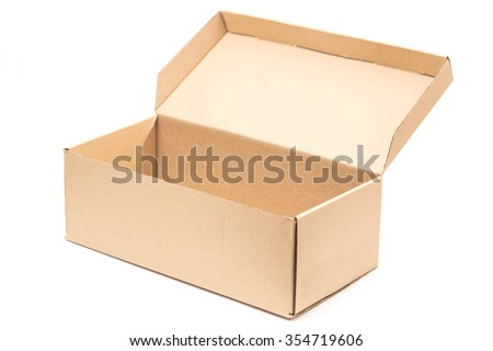 Open shipping cardboard box, empty box, isolate on white background.