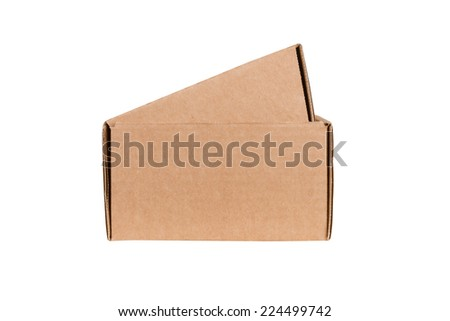 Open shipping cardboard box isolated on white