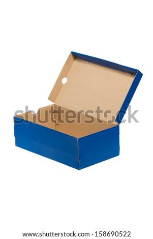Open shoe box isolated on white - stock photo