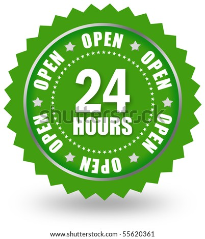 Open 24 sign - stock photo