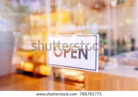 Open Sign Broad Through Glass Door Stock Photo Edit Now Shutterstock