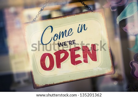 Open sign in a store
