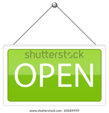 Open Sign in green color - stock photo