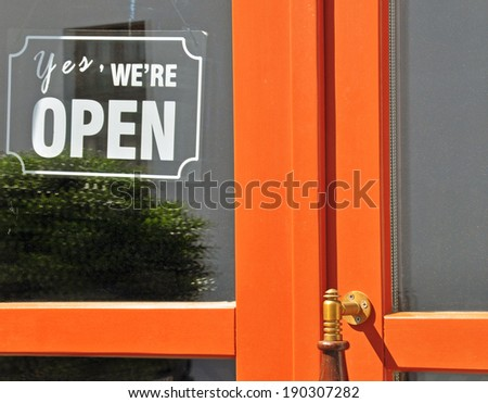 Open sign in street cafe - stock photo