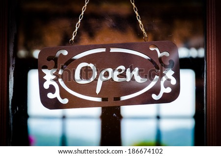 Open sign (Process old picture style) - stock photo