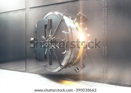 Open silver bank vault with golden light peeking from inside, 3D Render - stock photo