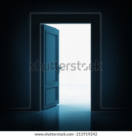 open single door in darkness to light room 3D illustration - stock photo