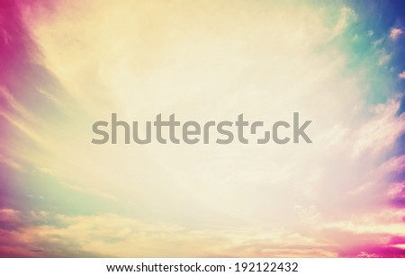 open sky with beautiful colors spotlight in center with space for text or design heavenly clouds with shining light concept of heaven - stock photo