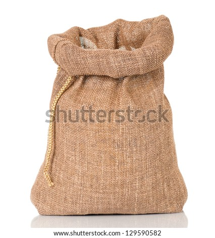 Open small sack, isolated on white background - stock photo