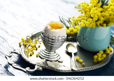 Open soft boiled egg on tray with mimosa flowers