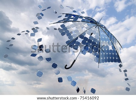 open solar photovoltaic umbrella stick concept - stock photo