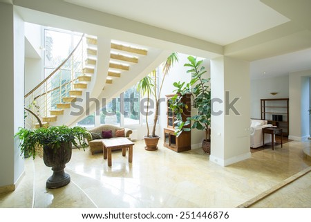 Open space inside greek style house, horizontal - stock photo