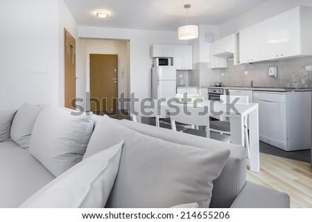 Open space, modern interior design kitchen in scandinavian style - stock photo