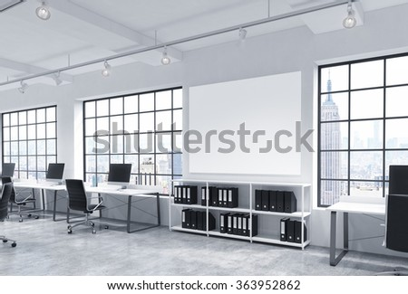 Open space office, big windows with New York view, tables with computers, office chairs, shelves with folders, lamps on the ceiling, big white board between windows.  3D rendering. - stock photo