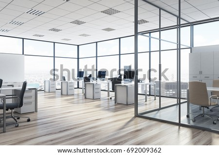 Open Space Office Environment Rows Computer Stock Illustration ...