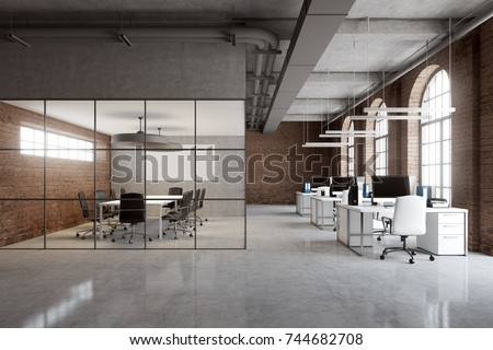Open Space Office Interior Brick Glass Stock Illustration