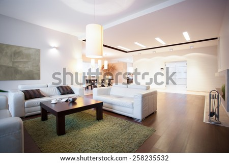 Open space with living room at home - stock photo