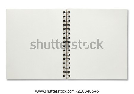 open spiral notebook isolated on white background  - stock photo