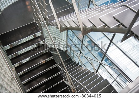 Open stairwell in a modern office building - stock photo
