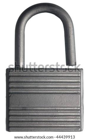 Open steel padlock isolated on white - stock photo