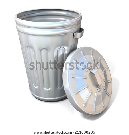 Open steel trash can isolated on white background - stock photo